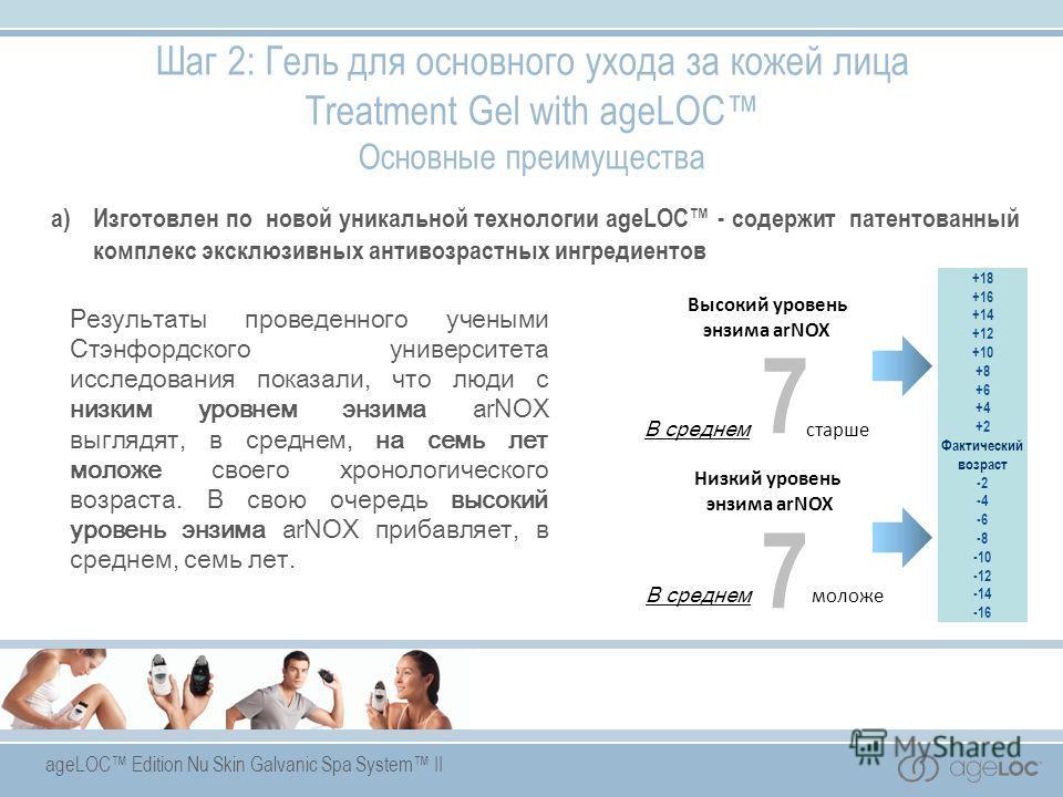 ageLOC Edition Nu Skin Galvanic Spa System II Низкий уровень энзима arNOX В среднем моложе Высокий уровень энзима arNOX В среднем старше 7 +18 +16 +14 +12 +10 +8 +6 +4 +2 Фактический возраст -2 -4 -6 -8 -10 -12 -14 -16 7 Результаты проведенного учены