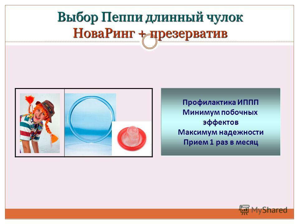Выбор Пеппи длинный чулок НоваРинг + презерватив Профилактика ИППП Минимум побочных эффектов Максимум надежности Прием 1 раз в месяц