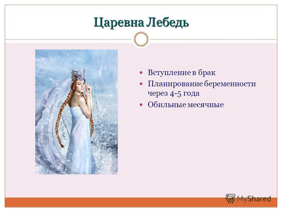 Царевна Лебедь Вступление в брак Планирование беременности через 4-5 года Обильные месячные