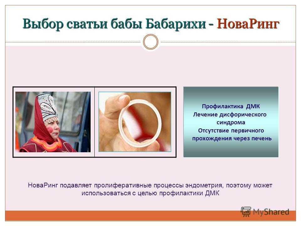 Выбор сватьи бабы Бабарихи - НоваРинг Профилактика ДМК Лечение дисфорического синдрома Отсутствие первичного прохождения через печень НоваРинг подавляет пролиферативные процессы эндометрия, поэтому может использоваться с целью профилактики ДМК