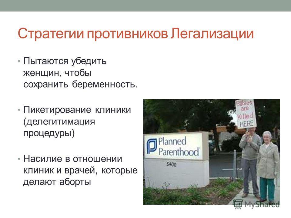 Стратегии противников Легализации Пытаются убедить женщин, чтобы сохранить беременность. Пикетирование клиники (делегитимация процедуры) Насилие в отношении клиник и врачей, которые делают аборты