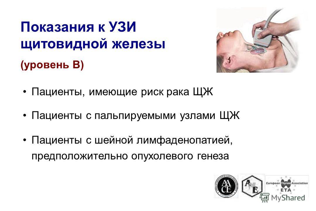 Пациенты, имеющие риск рака ЩЖ Пациенты с пальпируемыми узлами ЩЖ Пациенты с шейной лимфаденопатией, предположительно опухолевого генеза Показания к УЗИ щитовидной железы (уровень В)