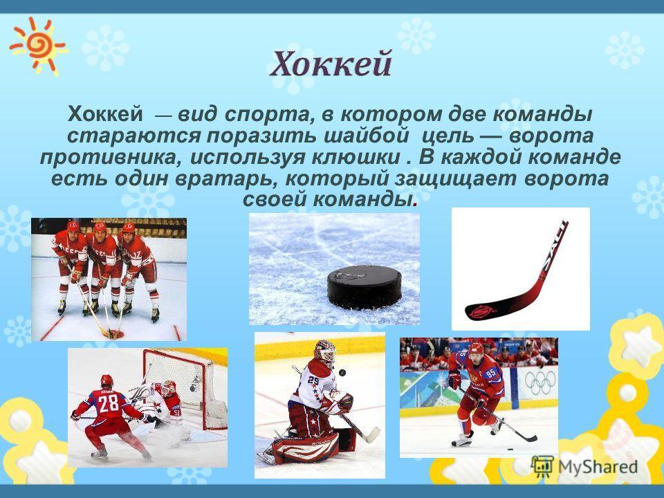 Хоккей вид спорта, в котором две команды стараются поразить шайбой цель ворота противника, используя клюшки. В каждой команде есть один вратарь, который защищает ворота своей команды.