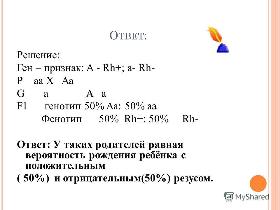 О ТВЕТ : Решение: Ген – признак: A - Rh+; a- Rh- Р aa X Aa G a A a F1 генотип 50% Aa: 50% aa Фенотип 50% Rh+: 50% Rh- Ответ: У таких родителей равная вероятность рождения ребёнка с положительным ( 50%) и отрицательным(50%) резусом.