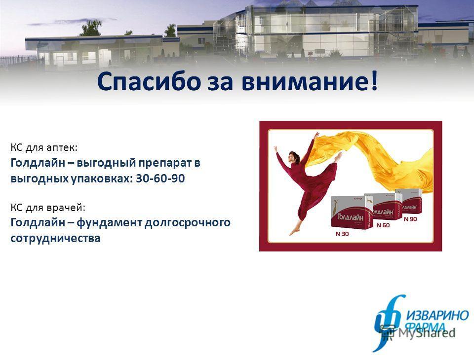 КС для аптек: Голдлайн – выгодный препарат в выгодных упаковках: 30-60-90 КС для врачей: Голдлайн – фундамент долгосрочного сотрудничества