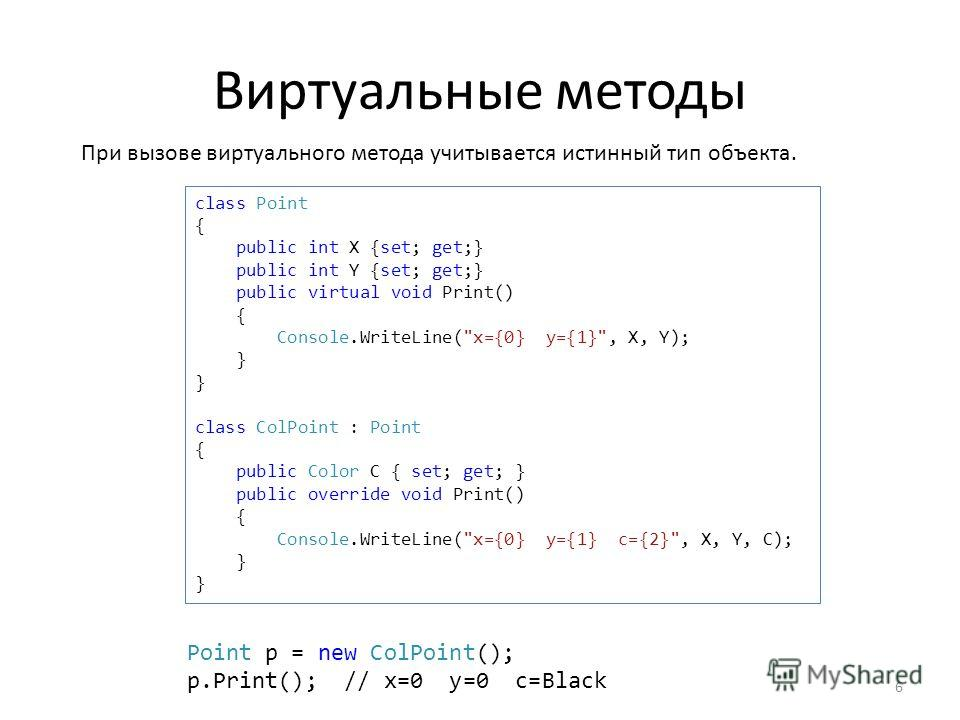 Виртуальные методы 6 class Point { public int X {set; get;} public int Y {set; get;} public virtual void Print() { Console.WriteLine(