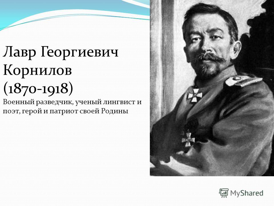 Лавр Георгиевич Корнилов (1870-1918) Военный разведчик, ученый лингвист и поэт, герой и патриот своей Родины
