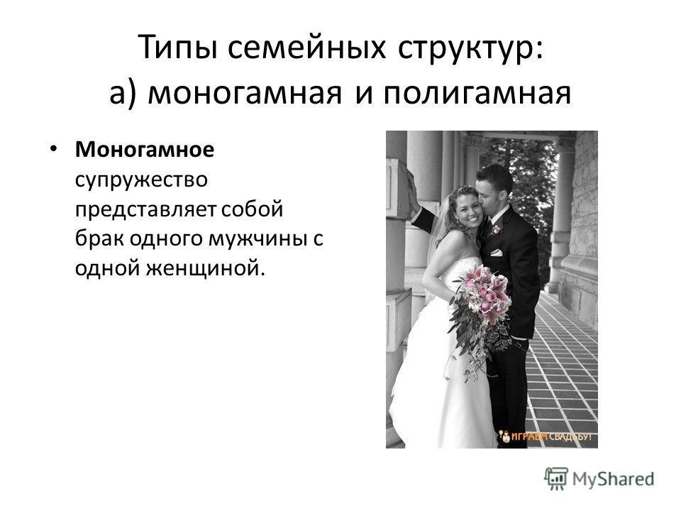 Типы семейных структур: а) моногамная и полигамная Моногамное супружество представляет собой брак одного мужчины с одной женщиной.