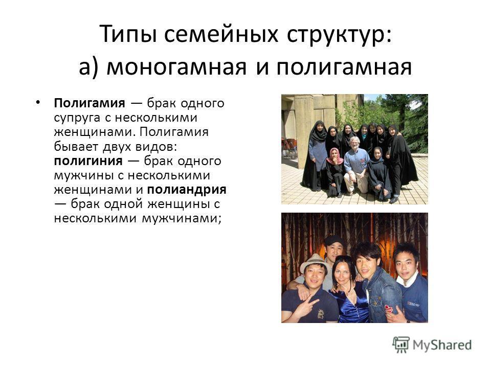 Типы семейных структур: а) моногамная и полигамная Полигамия брак одного супруга с несколькими женщинами. Полигамия бывает двух видов: полигиния брак одного мужчины с несколькими женщинами и полиандрия брак одной женщины с несколькими мужчинами;