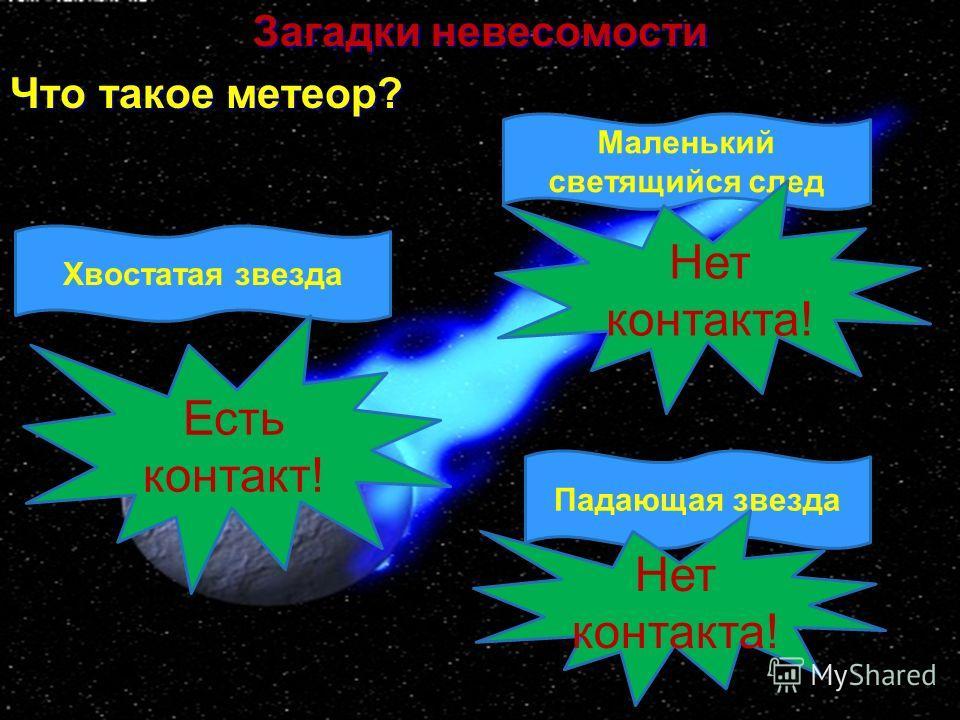 Загадки невесомости Что такое метеор? Хвостатая звезда Маленький светящийся след Падающая звезда Есть контакт! Нет контакта!