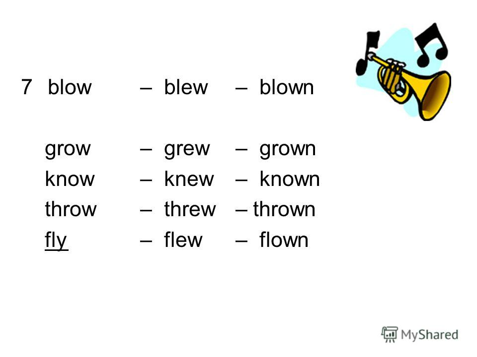 7blow – blew – blown grow – grew – grown know – knew – known throw – threw – thrown fly– flew– flown