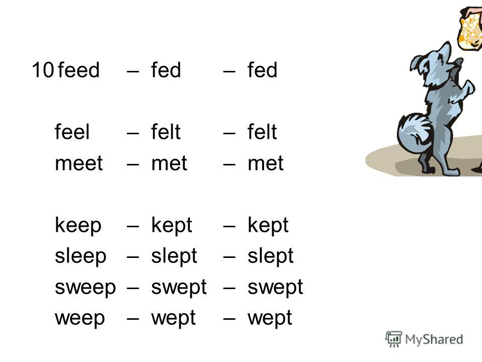 10feed – fed–fed feel – felt – felt meet – met – met keep – kept – kept sleep – slept – slept sweep – swept – swept weep – wept– wept