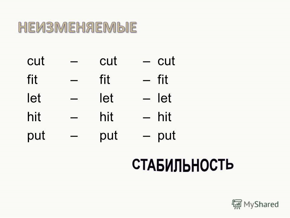 cut – cut –cut fit – fit – fit let – let – let hit – hit – hit put – put – put