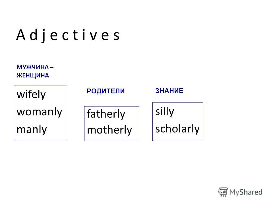 fatherly motherly wifely womanly manly silly scholarly A d j e c t i v e s РОДИТЕЛИ МУЖЧИНА – ЖЕНЩИНА ЗНАНИЕ