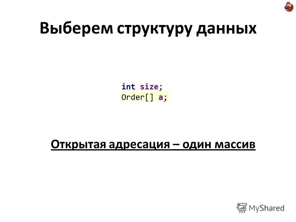 Выберем структуру данных Открытая адресация – один массив