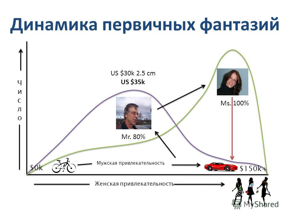 Динамика первичных фантазий Женская привлекательность ЧислоЧисло $0k $150k+ Мужская привлекательность US $30k 2.5 cm US $35k Mr. 80% Ms. 100%