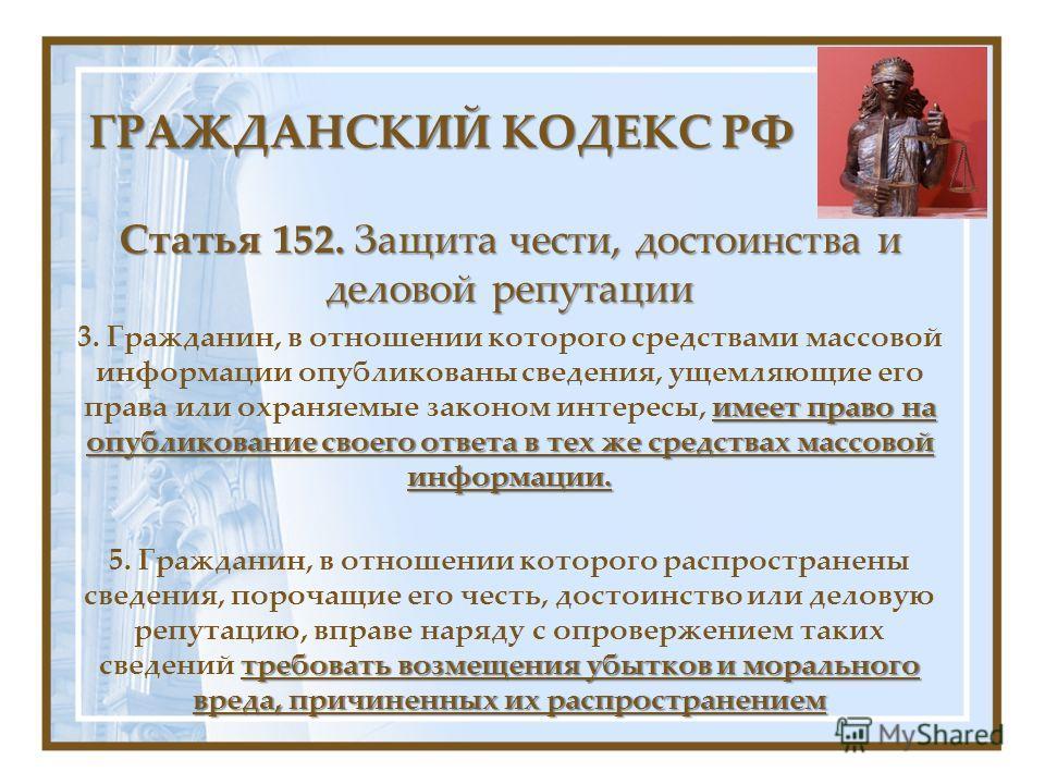 ГРАЖДАНСКИЙ КОДЕКС РФ Статья 152. Защита чести, достоинства и деловой репутации имеет право на опубликование своего ответа в тех же средствах массовой информации. 3. Гражданин, в отношении которого средствами массовой информации опубликованы сведения