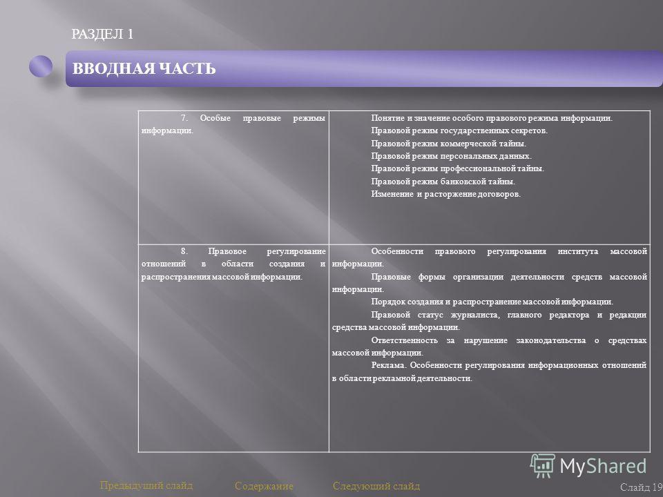 РАЗДЕЛ 1 Слайд 19 Предыдущий слайд Следующий слайд 7. Особые правовые режимы информации. Понятие и значение особого правового режима информации. Правовой режим государственных секретов. Правовой режим коммерческой тайны. Правовой режим персональных д