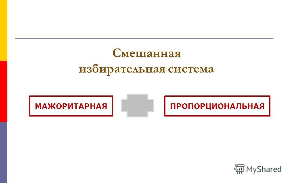Смешанная избирательная система ПРОПОРЦИОНАЛЬНАЯМАЖОРИТАРНАЯ