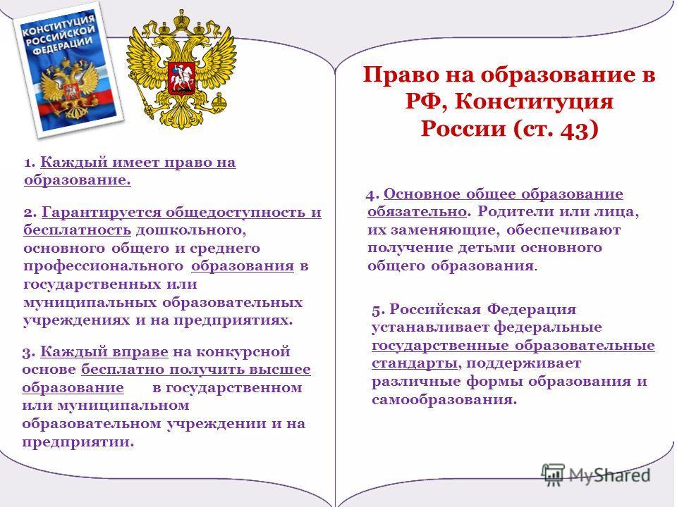 Право на образование в РФ, Конституция России (ст. 43) 5. Российская Федерация устанавливает федеральные государственные образовательные стандарты, поддерживает различные формы образования и самообразования. 4. Основное общее образование обязательно.