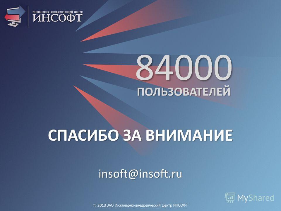 84000 ПОЛЬЗОВАТЕЛЕЙ СПАСИБО ЗА ВНИМАНИЕ insoft@insoft.ru