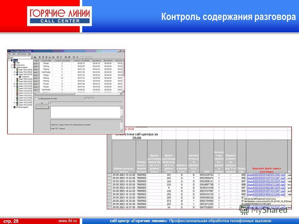 call-центр «Горячие линии»: Профессиональная обработка телефонных вызовов стр. 25 www.ihl.ru Контроль содержания разговора