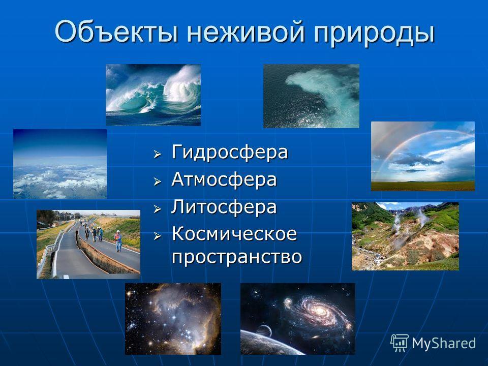Объекты неживой природы Гидросфера Гидросфера Атмосфера Атмосфера Литосфера Литосфера Космическое пространство Космическое пространство
