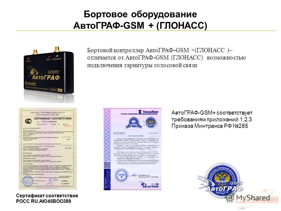 Бортовое оборудование АвтоГРАФ-GSM + (ГЛОНАСС) Сертификат соответствия POCC RU.АЮ45ВОО389 Бортовой контроллер АвтоГРАФ-GSM +(ГЛОНАСС )– отличается от АвтоГРАФ-GSM (ГЛОНАСС) возможностью подключения гарнитуры голосовой связи АвтоГРАФ-GSM+ соответствуе