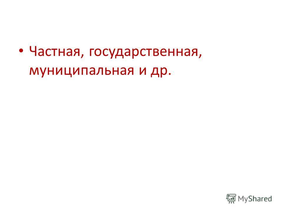 Частная, государственная, муниципальная и др.