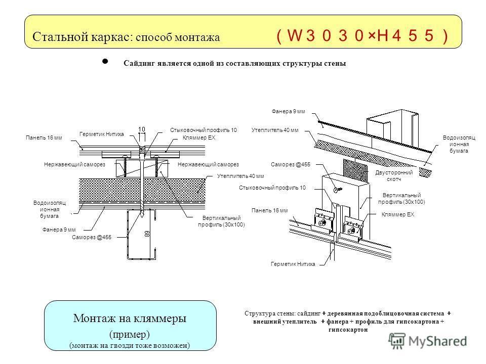 Стальной каркас: способ монтажа W ×H Монтаж на кляммеры (пример) (монтаж на гвозди тоже возможен) Сайдинг является одной из составляющих структуры стены Структура стены: сайдинг деревянная подоблицовочная система внешний утеплитель фанера + профиль д