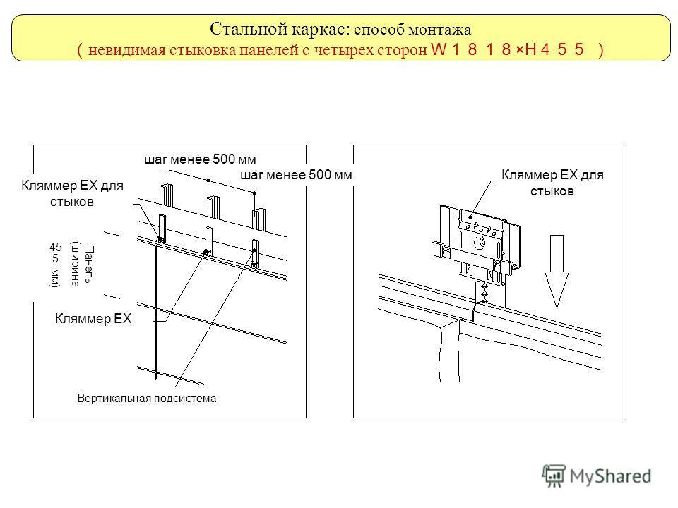 Стальной каркас: способ монтажа невидимая стыковка панелей с четырех сторон W ×H шаг менее 500 мм Панель (ширина 455 мм) Кляммер ЕХ Кляммер ЕХ для стыков Вертикальная подсистема