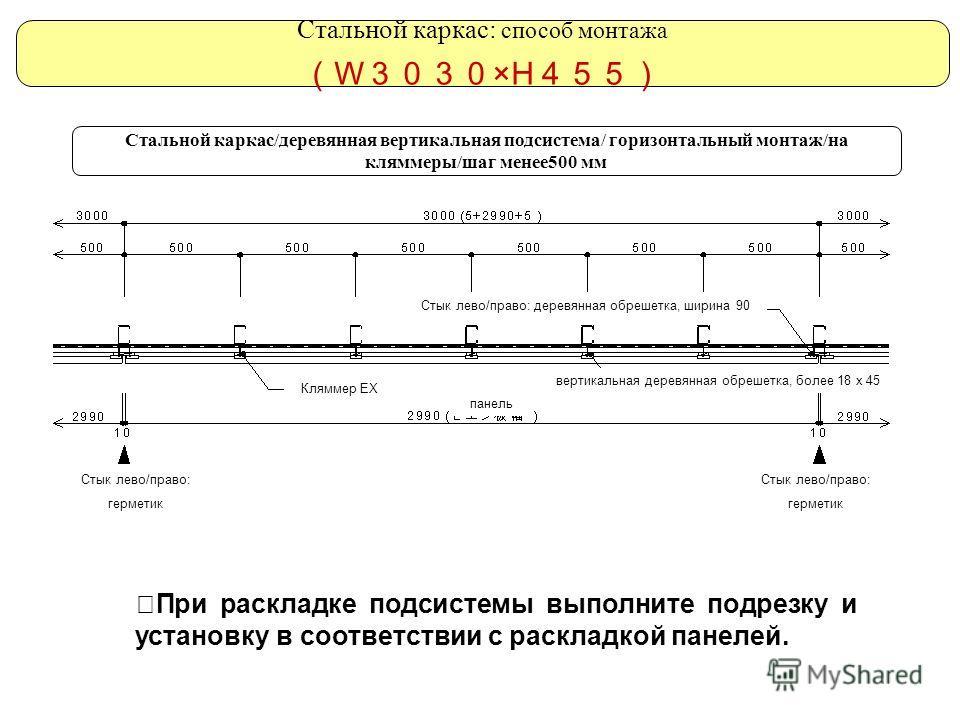 Стальной каркас/деревянная вертикальная подсистема/ горизонтальный монтаж/на кляммеры/шаг менее500 мм При раскладке подсистемы выполните подрезку и установку в соответствии с раскладкой панелей. Стальной каркас: способ монтажа W ×H Стык лево/право: д
