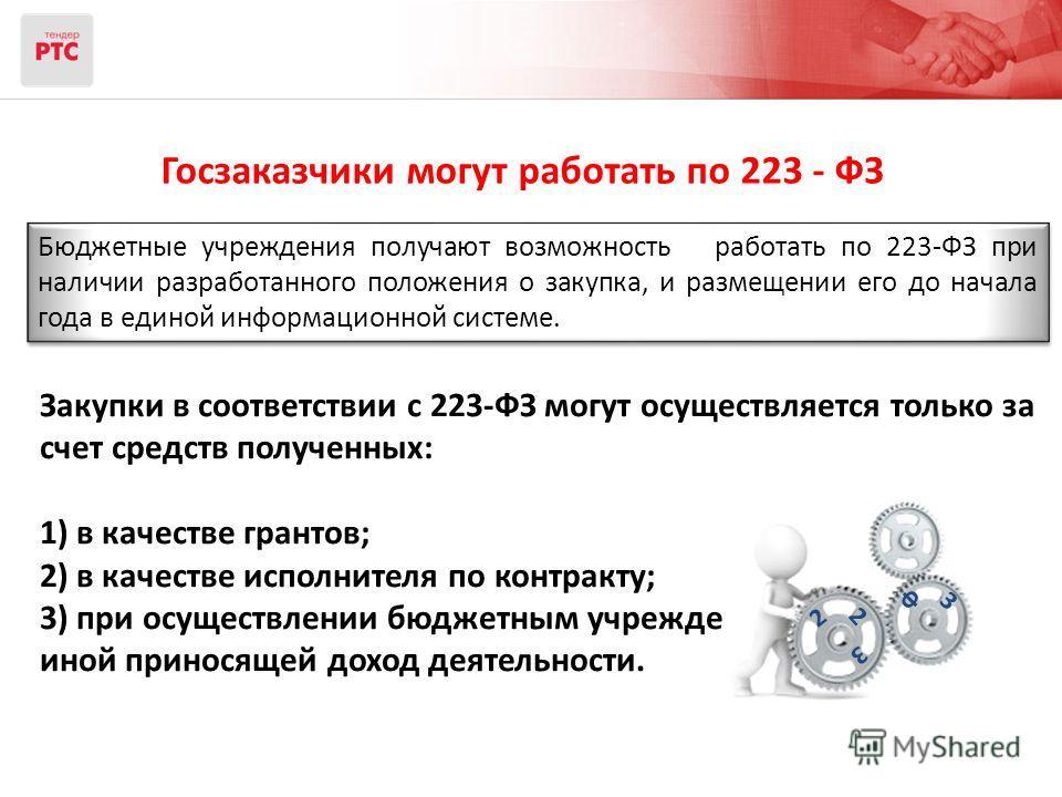 Госзаказчики могут работать по 223 - ФЗ Бюджетные учреждения получают возможность работать по 223-ФЗ при наличии разработанного положения о закупка, и размещении его до начала года в единой информационной системе. Закупки в соответствии с 223-ФЗ могу