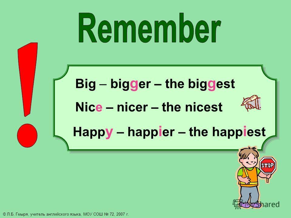 Happ y – happ i er – the happ i est Big – big g er – the big g est Nice – nicer – the nicest © Л.Б. Гмыря, учитель английского языка, МОУ СОШ 72, 2007 г.