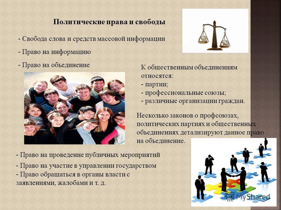 Политические права и свободы - Свобода слова и средств массовой информации - Право на информацию - Право на объединение К общественным объединениям относятся : - партии ; - профессиональные союзы ; - различные организации граждан. Несколько законов о