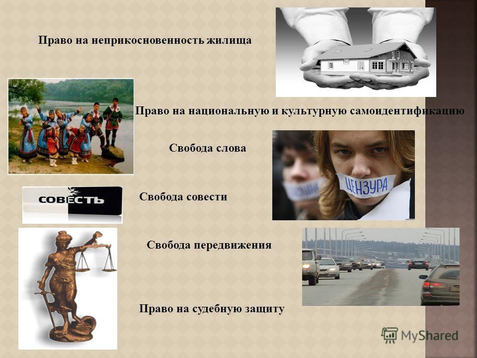 Право на неприкосновенность жилища Право на национальную и культурную самоидентификацию Свобода слова Свобода совести Свобода передвижения Право на судебную защиту