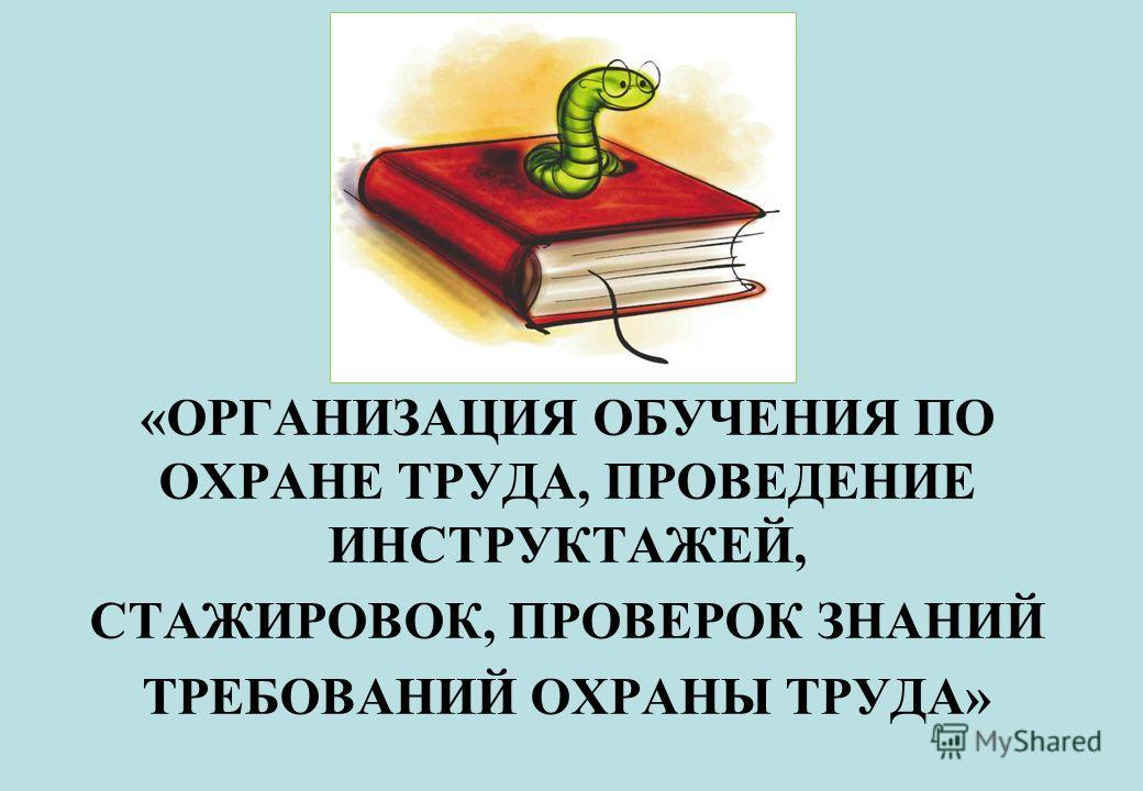 «ОРГАНИЗАЦИЯ ОБУЧЕНИЯ ПО ОХРАНЕ ТРУДА, ПРОВЕДЕНИЕ ИНСТРУКТАЖЕЙ, СТАЖИРОВОК, ПРОВЕРОК ЗНАНИЙ ТРЕБОВАНИЙ ОХРАНЫ ТРУДА»