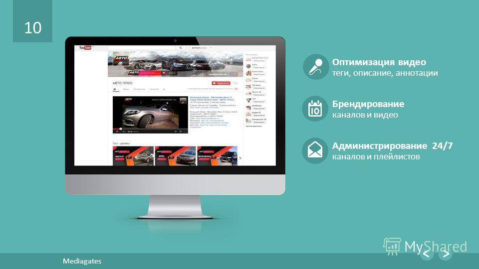 10 Mediagates Оптимизация видео теги, описание, аннотации Брендирование каналов и видео Администрирование 24/7 каналов и плейлистов