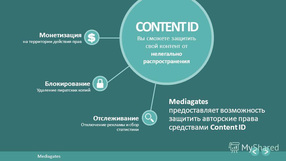 13 Mediagates Монетизация на территории действия прав CONTENT ID Вы сможете защитить свой контент от нелегально распространения Блокирование Удаление пиратских копий Отслеживание Отключение рекламы и сбор статистики Mediagates предоставляет возможнос