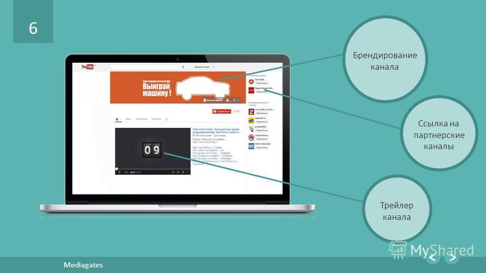 6 Mediagates Брендирование канала Ссылка на партнерские каналы Трейлер канала