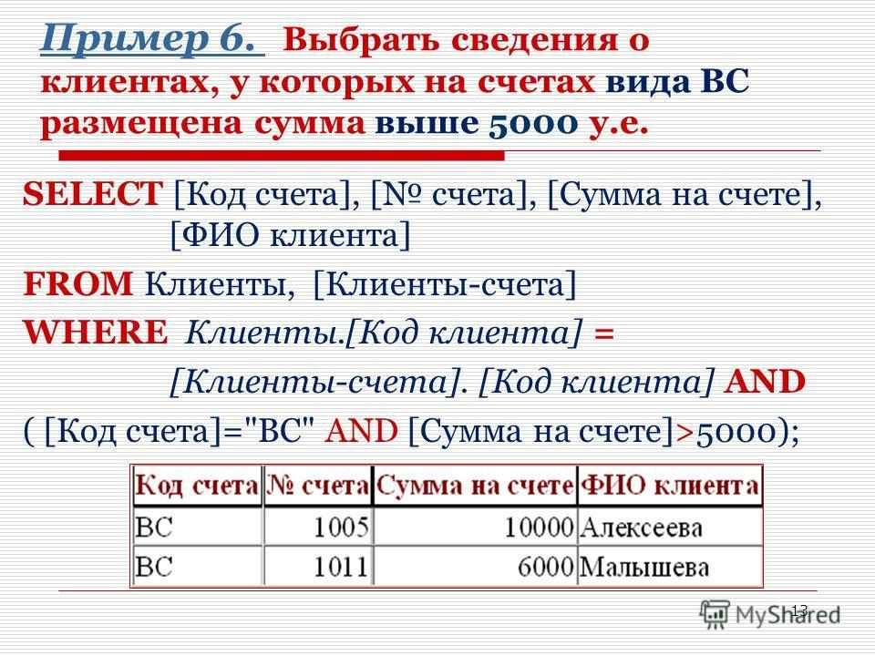 13 Пример 6. Пример 6. Выбрать сведения о клиентах, у которых на счетах вида ВС размещена сумма выше 5000 у.е. SELECT [Код счета], [ счета], [Сумма на счете], [ФИО клиента] FROM Клиенты, [Клиенты-счета] WHERE Клиенты.[Код клиента] = [Клиенты-счета].