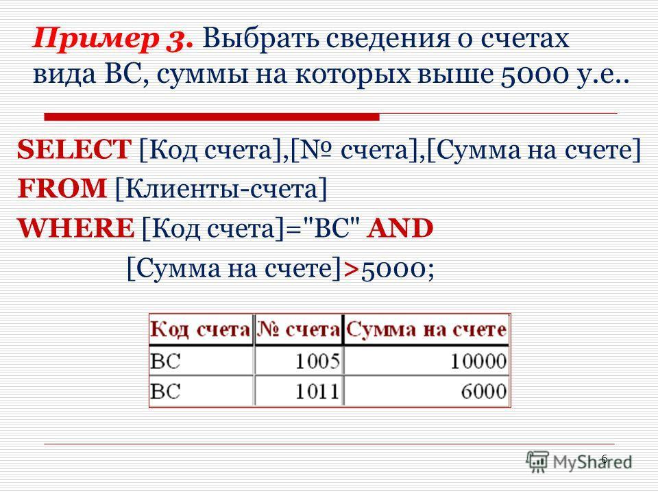 Пример 3. Выбрать сведения о счетах вида ВС, суммы на которых выше 5000 у.е.. SELECT [Код счета],[ счета],[Сумма на счете] FROM [Клиенты-счета] WHERE [Код счета]=ВС AND [Сумма на счете]>5000; 6