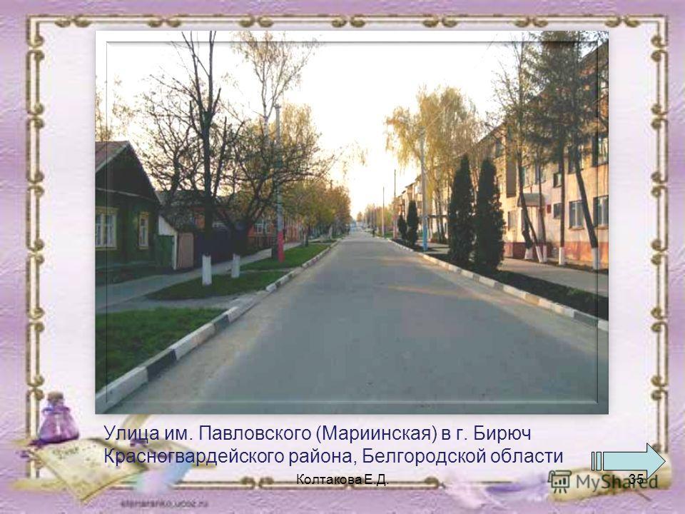 Улица им. Павловского (Мариинская) в г. Бирюч Красногвардейского района, Белгородской области Колтакова Е.Д.35