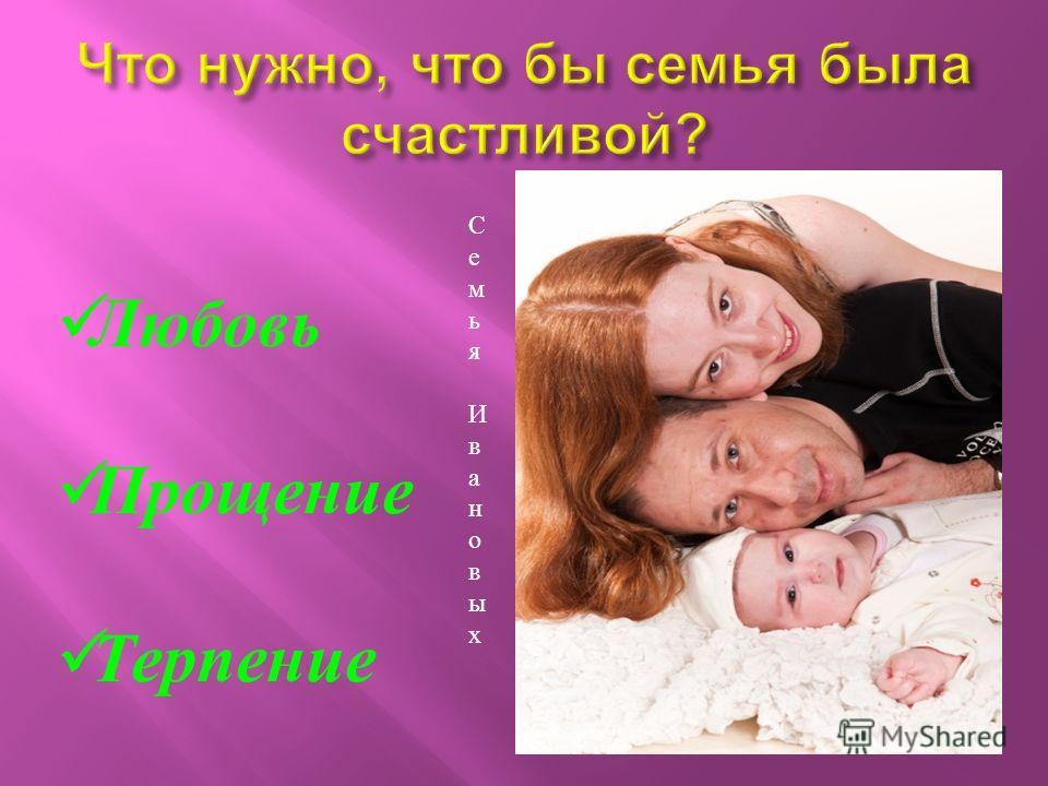 Л юбовь П рощение Т ерпение Семья ИвановыхСемья Ивановых