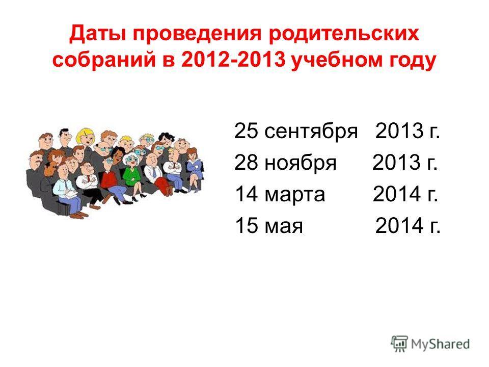 Даты проведения родительских собраний в 2012-2013 учебном году 25 сентября 2013 г. 28 ноября 2013 г. 14 марта 2014 г. 15 мая 2014 г.