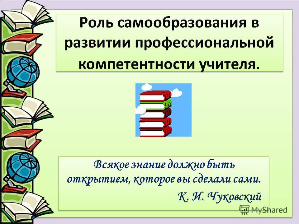 Всякое знание должно быть открытием, которое вы сделали сами. К. И. Чуковский Всякое знание должно быть открытием, которое вы сделали сами. К. И. Чуковский