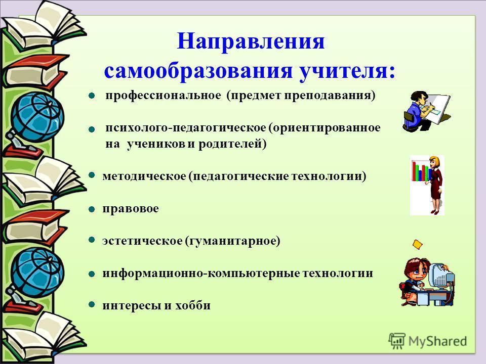профессиональное (предмет преподавания) психолого-педагогическое (ориентированное на учеников и родителей) методическое (педагогические технологии) правовое эстетическое (гуманитарное) информационно-компьютерные технологии интересы и хобби Направлени