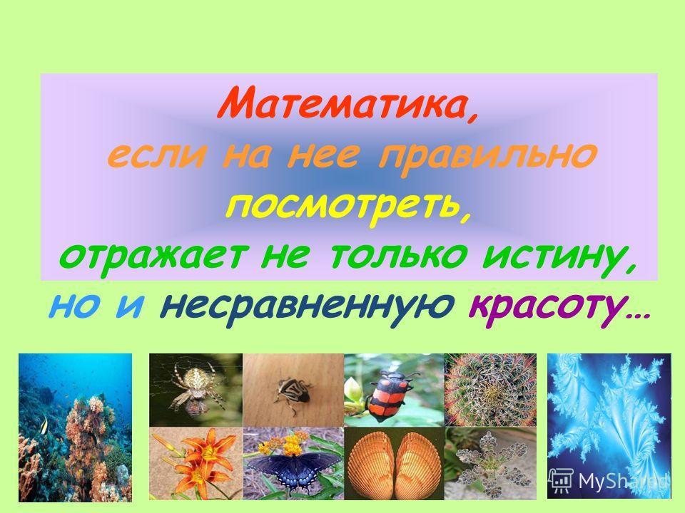 Математика, если на нее правильно посмотреть, отражает не только истину, но и несравненную красоту…