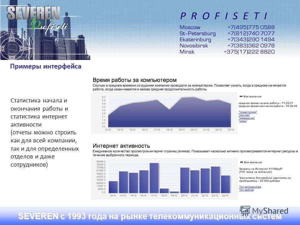 SEVEREN с 1993 года на рынке телекоммуникационных систем Примеры интерфейса Статистика начала и окончания работы и статистика интернет активности (отчеты можно строить как для всей компании, так и для определенных отделов и даже сотрудников)