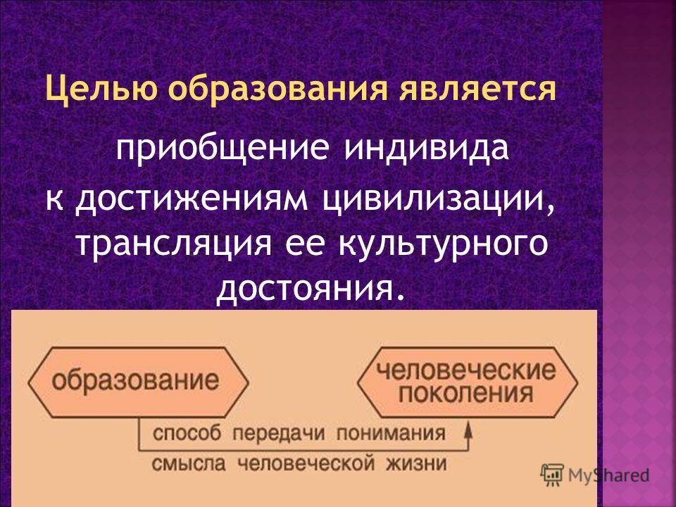 приобщение индивида к достижениям цивилизации, трансляция ее культурного достояния.